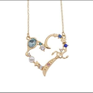 Sailor Moon Gold Heart Rhinestone Necklace